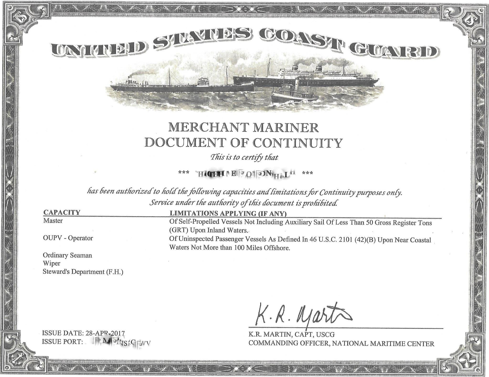 USCG Document of Continuity